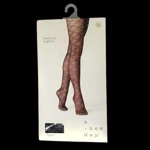 A New Day Fashion Tights Size L/XL Floral One Pair